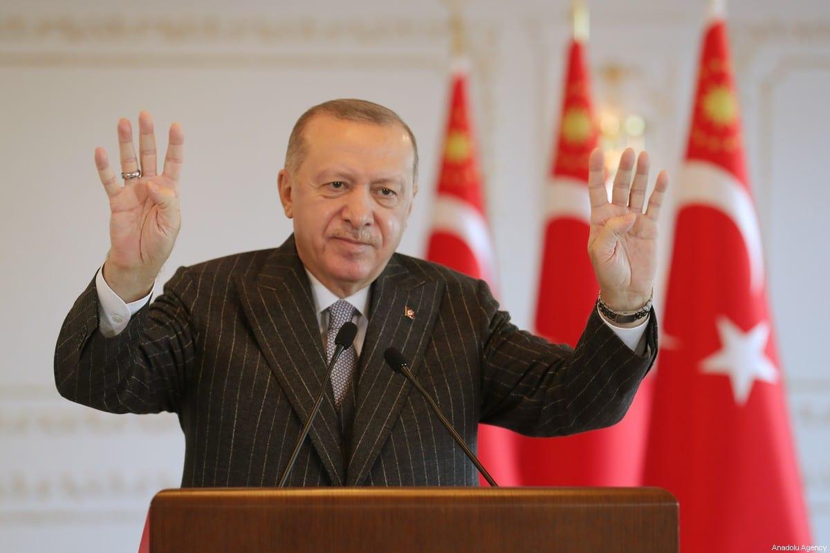 Turkish President Recep Tayyip Erdogan in Istanbul, Turkey on 2 January 2021 [Mustafa Kamacı/Anadolu Agency]