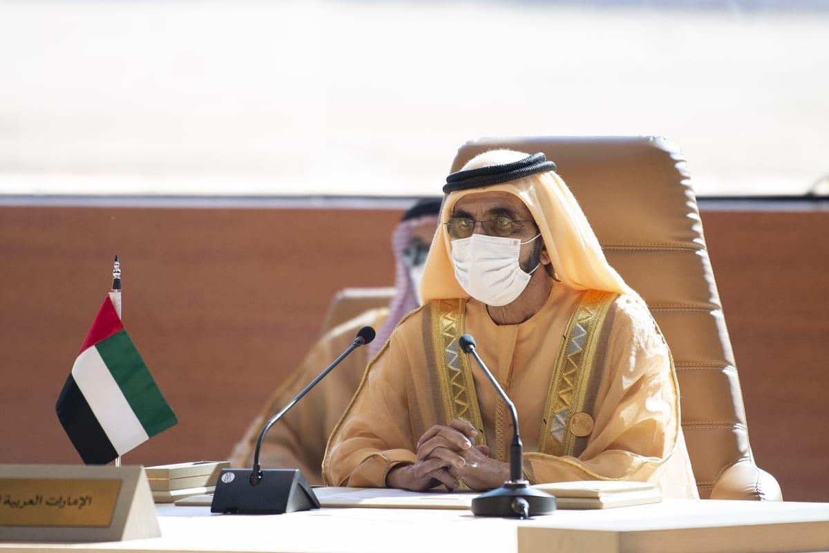Sheikh Mohammed Bin Rashid Al Maktoum in AlUla, Saudi Arabia on 5 January 2021 [Royal Council of Saudi Arabia/Anadolu Agency]