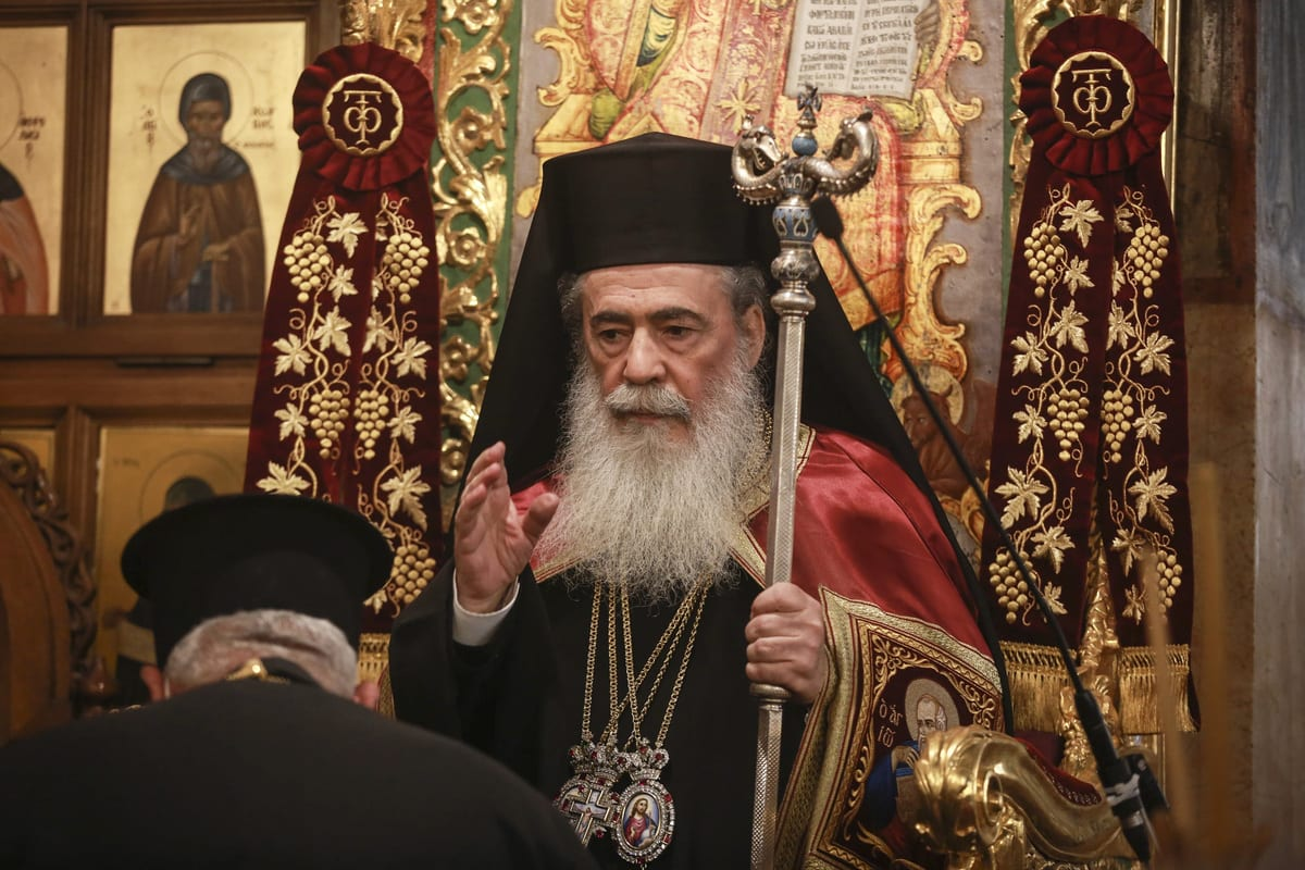 Orthodox Christmas service held by The Orthodox Patriarch Theophilos III in Church of the Nativity in Ramallah, West Bank on January 6, 2021 [Issam Rimawi/Anadolu Agency]