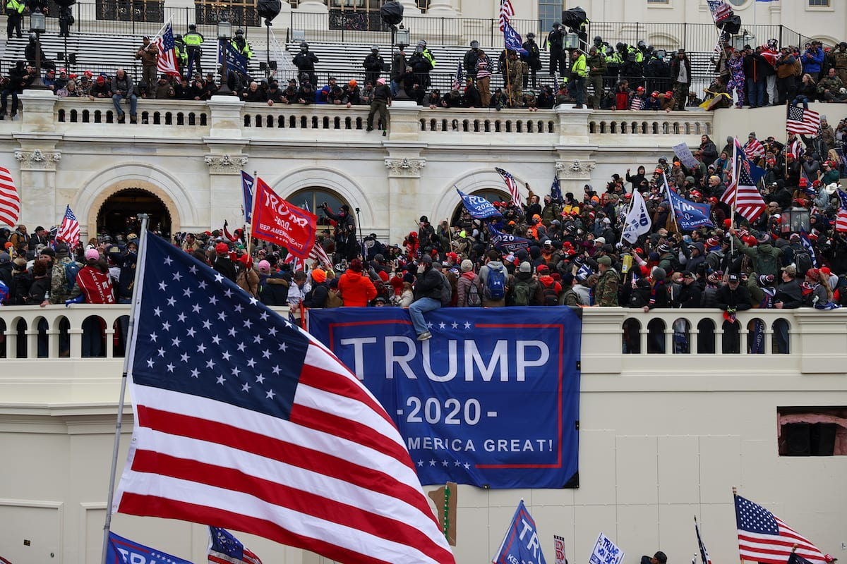 US President Donald Trump's supporters gather outside the Capitol building in Washington DC, United States on 6 January 2021. [Tayfun Coşkun - Anadolu Agency]