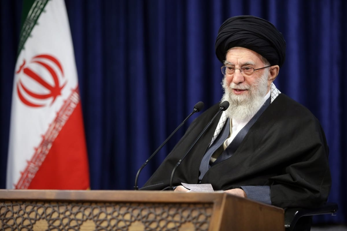 Iranian Supreme Leader Ali Khamenei addresses people via a live broadcast on state television on the occasion of the anniversary of the 1978 Qom protests in Tehran, Iran on January 08, 2021 [Iranian Leader Press Office/Anadolu Agency]
