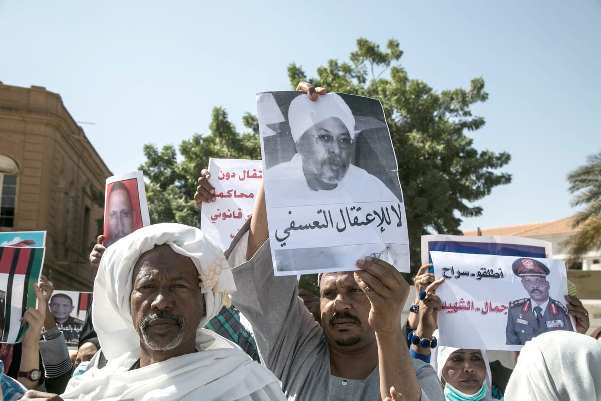 A group of Sudanese people stage demonstration demanding release for the members of administration of toppled President Omar al-Bashir in Khartoum, Sudan on 13 January 2021. [Mahmoud Hjaj - Anadolu Agency]