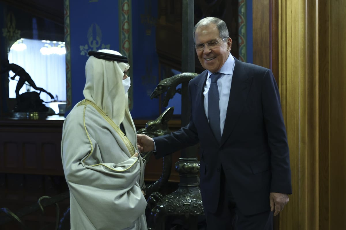 """MOSCOW, RUSSIA - JANUARY 14: (----EDITORIAL USE ONLY – MANDATORY CREDIT - """"RUSSIAN FOREIGN MINISTRY / HANDOUT"""" - NO MARKETING NO ADVERTISING CAMPAIGNS - DISTRIBUTED AS A SERVICE TO CLIENTS----) Russian Foreign Minister Sergey Lavrov (R) meets Minister of Foreign Affairs of Saudi Arabia Faisal bin Farhan Al-Saud (L) in Moscow, Russia on January 14, 2021. ( Russian Foreign Ministry/Handout - Anadolu Agency )"""
