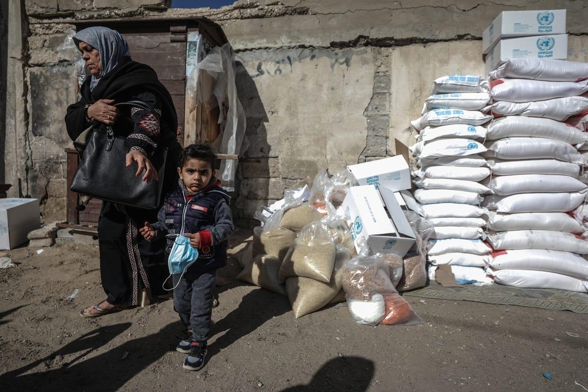 UNRWA aid packages in Gaza on 14 January 2021 [Ali Jadallah/Anadolu Agency]