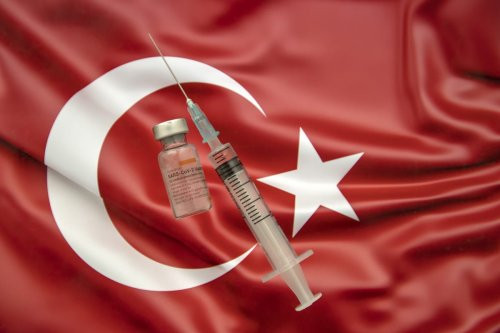 Sinovac Biotech COVID-19 vaccine (CoronaVac) is seen and Turkish flag is seen behind. [Ali Balıkçı - Anadolu Agency]
