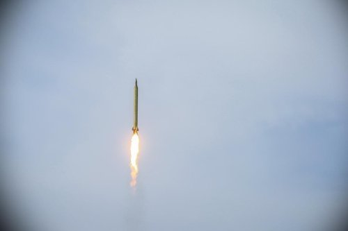 Members of the Islamic Revolutionary Guard Corps test Siccil, Imad and Kadir ballistic missiles during a military drill at Great Salt Desert, in the middle of the Iranian Plateau, on 16 January 2021 in Iran. [Sepahnews/Handout - Anadolu Agency]