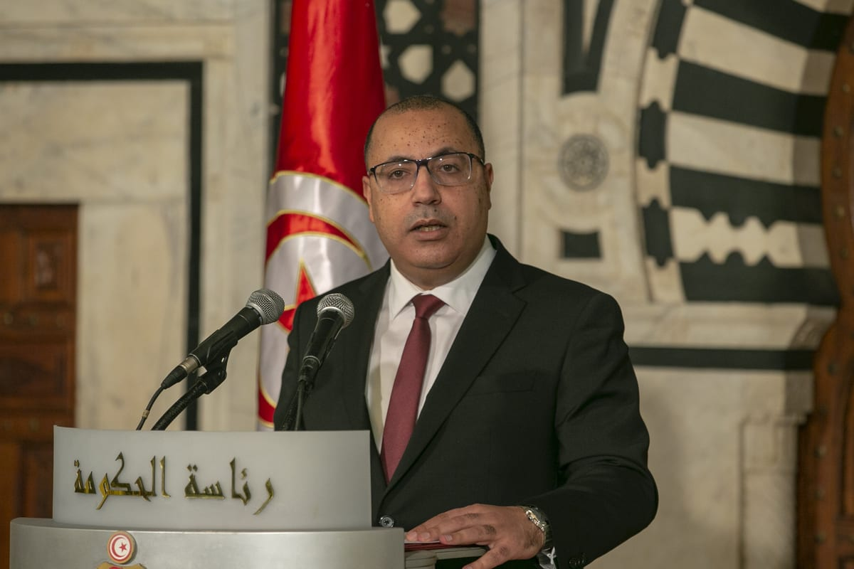 TUNIS, TUNISIA - JANUARY 16: Tunisian Prime Minister Hichem Mechichi speaks during a press conference to announce a wide cabinet reshuffle in the capital Tunis, Tunisia on January 16, 2021. ( Yassine Gaidi - Anadolu Agency )