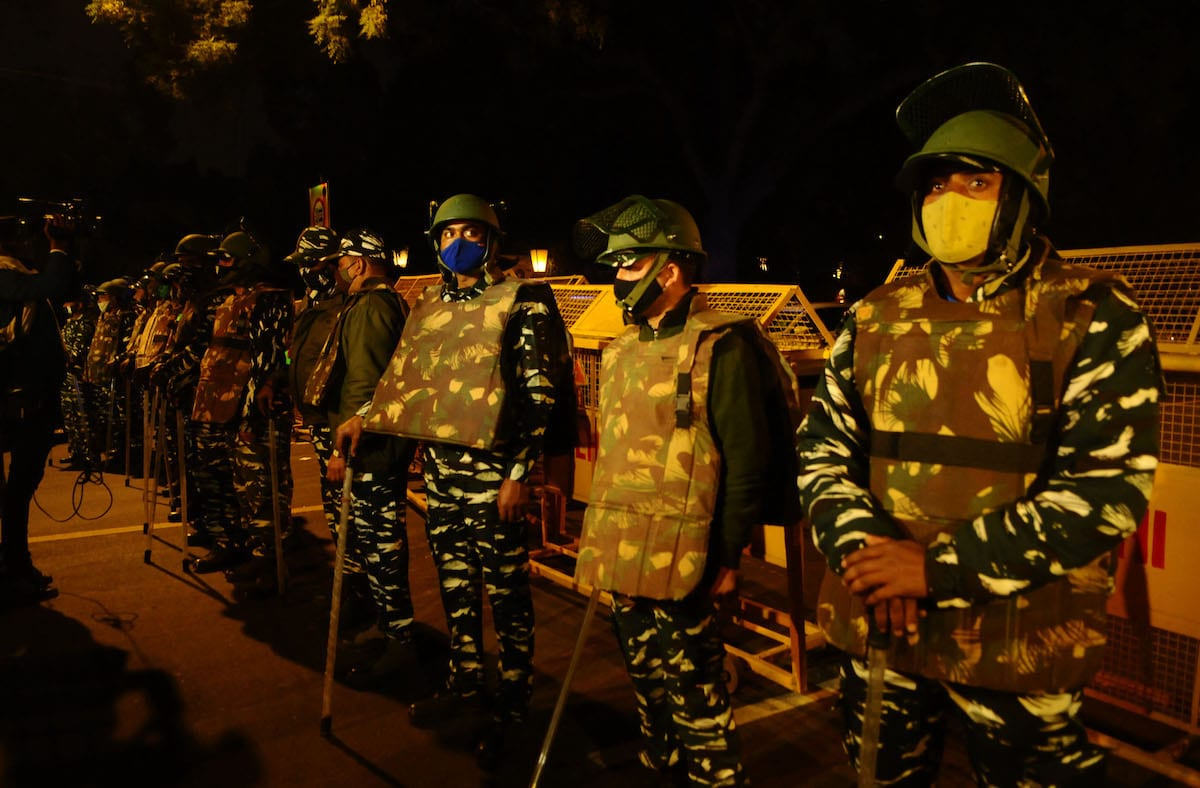 Indian Paramilitary troops stand guard at the site of an low-intensity IED blast near the Israeli embassy in New Delhi, India on January 29, 2021 [Imtiyaz Khan/Anadolu Agency]