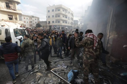ALEPPO, SYRIA - JANUARY 31: A view of the site after a bomb-laden vehicle exploded near Syrian Interim Government building and Azez Cultural Center building in Azaz district of Aleppo, Syria on January 31, 2021. 1 civilian killed, 8 injured in the attack according to initial reports. ( Bekir Kasim - Anadolu Agency )