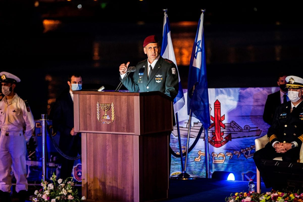 Israeli army chief of staff Aviv Kohavi in the northern Haifa city naval base, on December 2, 2020 [HEIDI LEVINE/POOL/AFP via Getty Image]