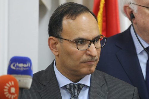 Kuwaiti Permanent Representative to the United Nations Mansour al-Otaibi speaks during a press conference at the presidential palace in the Iraqi capital Baghdad on 29 June 2019. [AHMAD AL-RUBAYE/AFP via Getty Images]