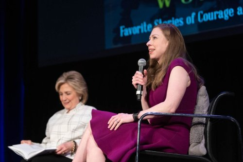 LOS ANGELES, CALIFORNIA - NOVEMBER 05: Hillary Clinton and Chelsea Clinton speak onstage at 'Hillary Clinton and Chelsea Clinton discuss their new book 'The Book of Gutsy Women' at The Wilshire Ebell Theatre on November 05, 2019 in Los Angeles, California. (Photo by Emma McIntyre/Getty Images)