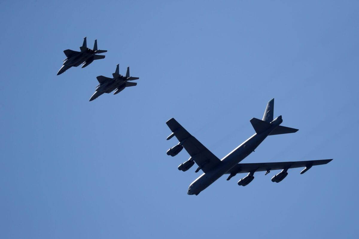 NEW ORLEANS, LOUISIANA - MAY 01: Two B-52 Bombers and two F-15 fighter jets fly over the University Medical Center on May 01, 2020 in New Orleans, Louisiana. The flyover was done as a salute to first responders and hospital workers in some of the hardest hit areas of the coronavirus (COVID-19). (Photo by Chris Graythen/Getty Images)