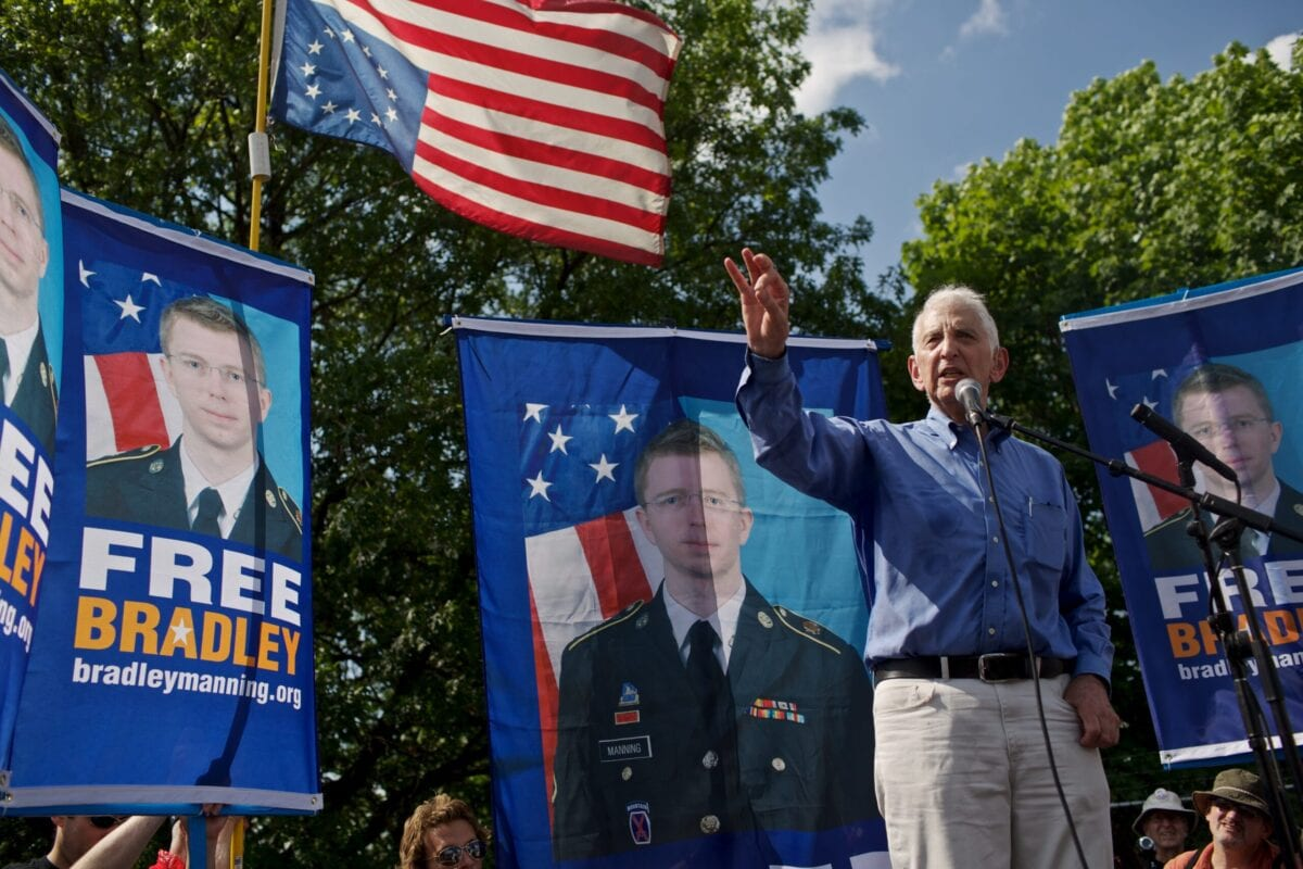 FORT MEADE, MD - JUNE 1: Daniel Ellsberg, former United States military analyst considered the Pentagon Papers whistleblower, speaks during mass rally in support for PFC Bradley Manning on June 1, 2013 in Fort Meade, Maryland. Manning's court martial is set to begin Monday June 3, 2013. Hundreds of supporters marched in support of Manning for giving classified documents to the anti-secrecy groups WikiLeaks. (Photo by Lexey Swall/Getty Images)