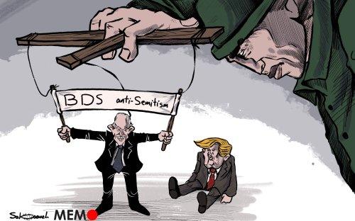 BDS 'verges' on anti-Semitism? ... - Cartoon [Sabaaneh/MiddleEastMonitor]