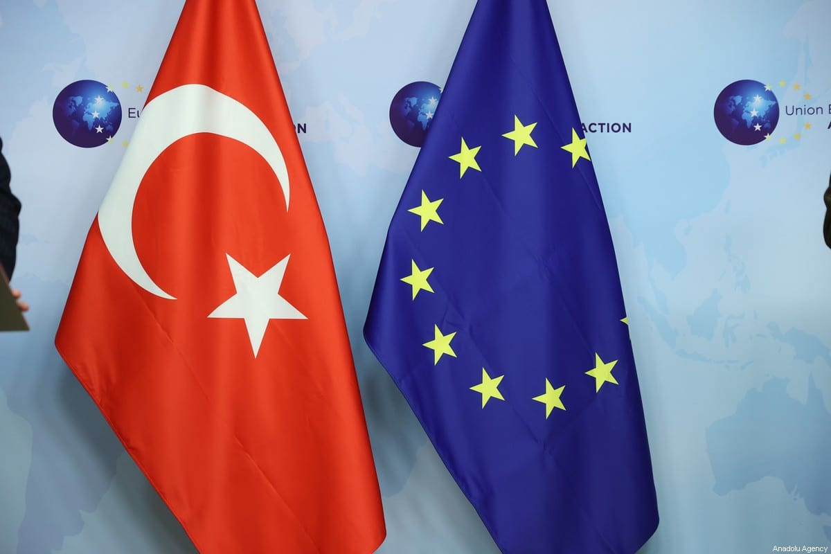 Flags of Turkey and EU in Brussels, Belgium on January 21, 2021. [Dursun Aydemir - Anadolu Agency]