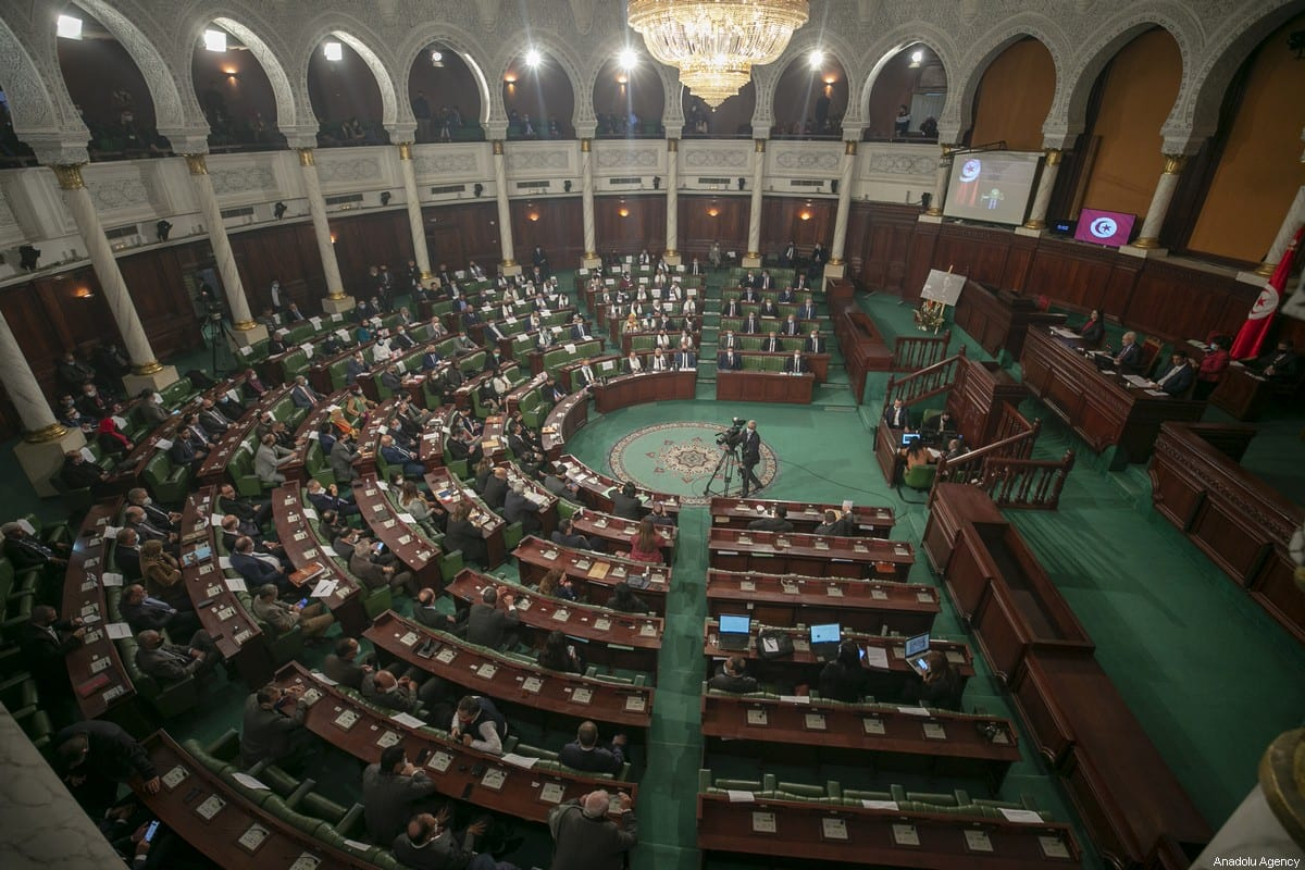 A general view of the Tunisian parliament in session in Tunis on 26 January 2021 [Yassine Gaidi/Anadolu Agency]