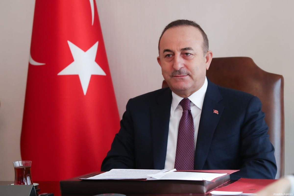 Turkish Foreign Minister Mevlut Cavusoglu in Ankara, Turkey on 27 January 2021. [Cem Özdel - Anadolu Agency]
