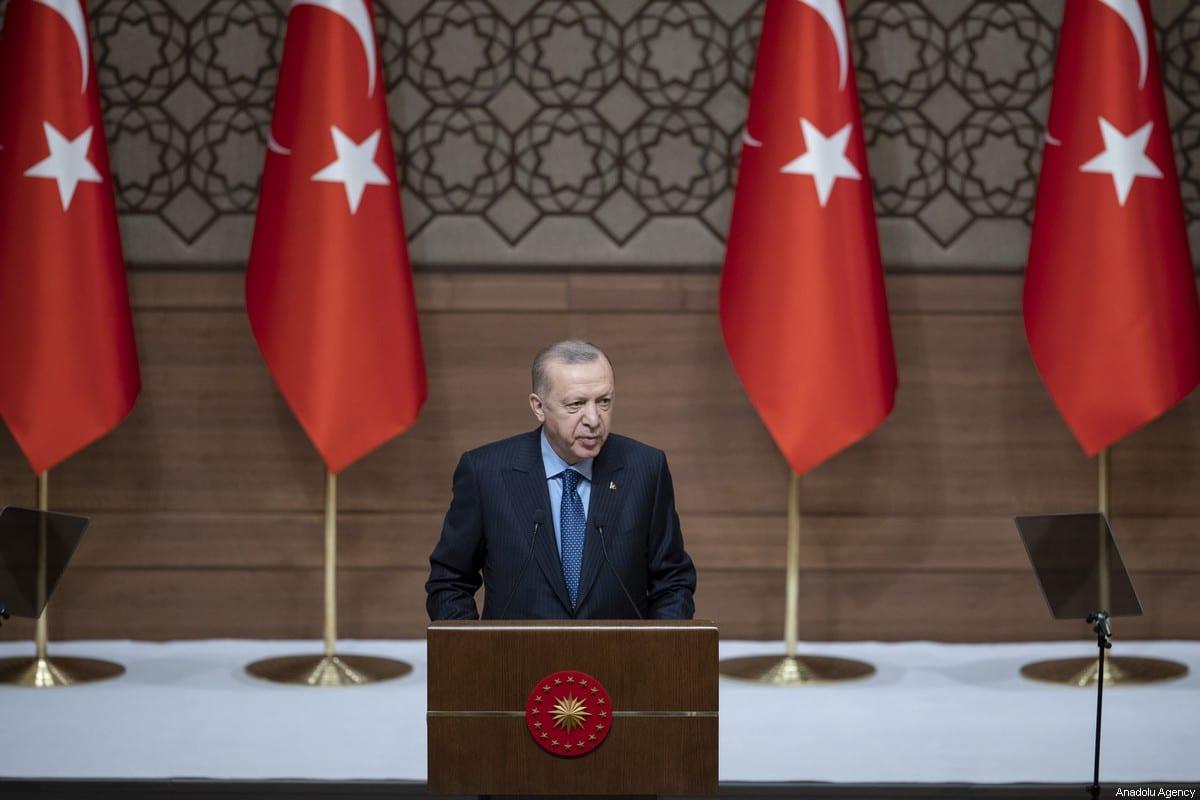 Turkish President Recep Tayyip Erdogan speaks at the TUBITAK and TUBA Science Awards in Ankara, Turkey on 28 January 2021. [Emin Sansar - Anadolu Agency]