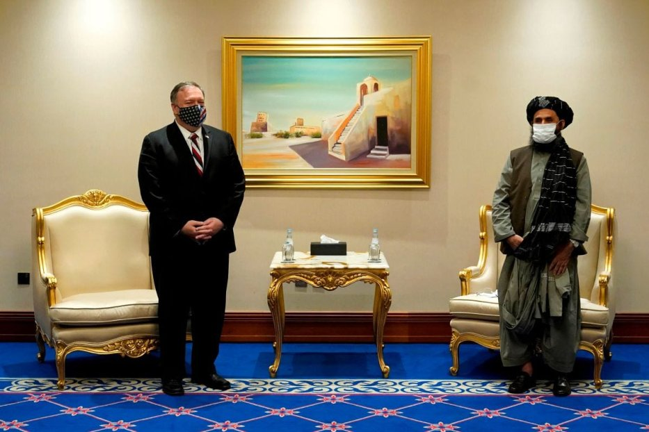 US Secretary of State Mike Pompeo (L) meets with Taliban co-founder Mullah Abdul Ghani Baradar in the Qatari capital Doha on November 21, 2020, [PATRICK SEMANSKY/POOL/AFP via Getty Images]