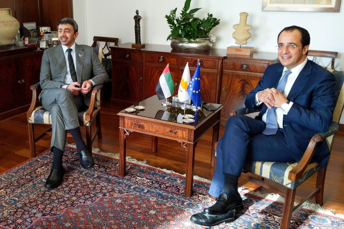 Cyprus' Foreign Minister Nikos Christodoulides (R) meets with his Emirati counterpart Sheikh Abdullah bin Zayed al-Nahayan in the capital Nicosia on October 1, 2020 [ETIENNE TORBEY/AFP via Getty Images]