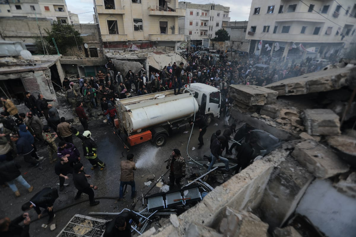 A view of the site after a bomb-laden vehicle exploded near Syrian Interim Government building and Azez Cultural Centre building in Azaz district of Aleppo, Syria on January 31, 2021 [Bekir Kasim / Anadolu Agency]