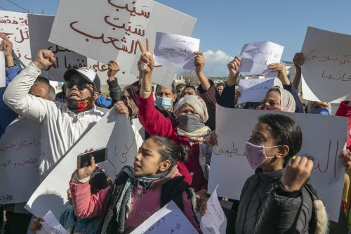 Supporters of Tunisian President, Kais Saied stage a demonstration in Tunis, Tunisia on 31 January 2021. [Yassine Gaidi - Anadolu Agency]