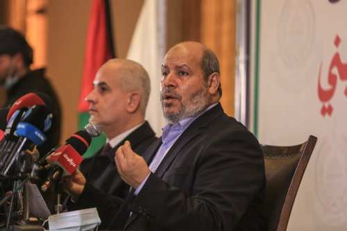Senior Hamas official Khalil al-Hayya speaks during a press conference on Palestinian election in Gaza City, Gaza on February 03, 2021 [Ali Jadallah/Anadolu Agency]