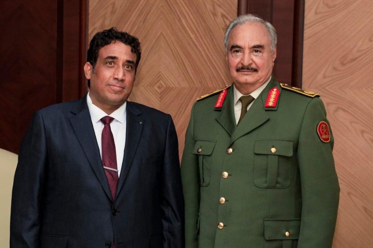 President of Libya's interim government Mohammad Younes Menfi (L) meets warlord Khalifa Haftar (R) in Benghazi, Libya on 11 February 2021. [Khalifa Haftar Forces Press Office - Anadolu Agency]