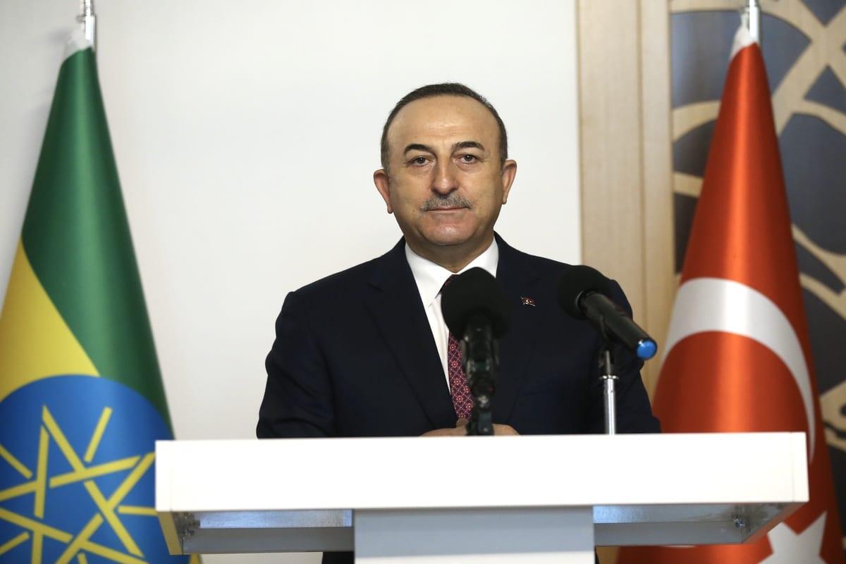 Turkish Foreign Minister Mevlut Cavusoglu in Ankara, Turkey on February 15, 2021 [Fatih Aktaş/Anadolu Agency]
