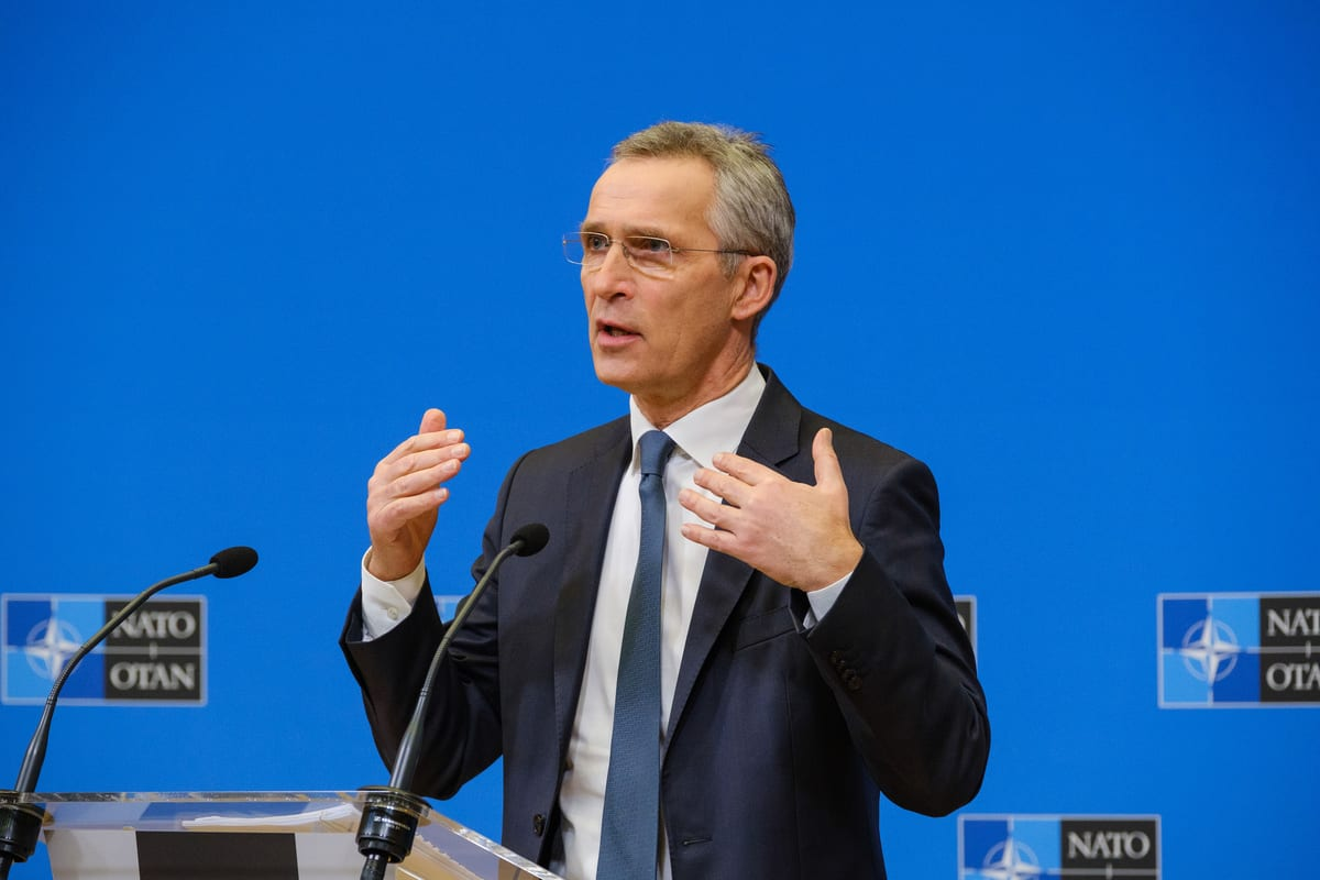 BRUSSELS, BELGIUM - FEBRUARY 15: NATO Secretary-General Jens Stoltenberg holds a press conference on NATO Defense Ministers' Meeting to be held on February 17-18, in Brussels, Belgium on February 15, 2021. ( NATO/Pool - Anadolu Agency )
