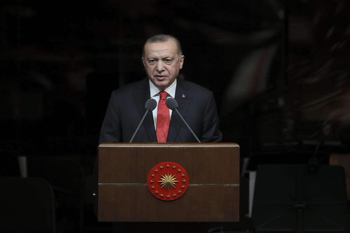 Turkish President Recep Tayyip Erdogan in Ankara, Turkey on February 16, 2021. [Halil Sağırkaya - Anadolu Agency]