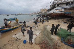 Palestinian fishermen in Gaza find an abundance of fish following days of high winds and rough seas grounded them, on 19 February 2021 [Mohammed Asad/Middle East Monitor]