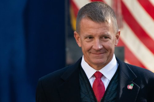 Erik Prince, former chief executive officer of Blackwater Worldwide, attends a wreath laying ceremony with US President Donald Trump, not pictured, at the Eternal Light Monument in Madison Square Park during the Veteran's Day parade in New York, U.S., on 11 Nov. 2019. [Jeenah Moon/Bloomberg via Getty Images]