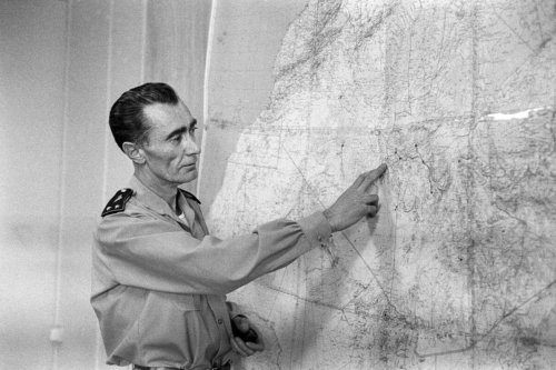 General Jean Thiry speaking to journalists about the explosion, on December 27, 1960, of the third French atomic bomb on the test polygon at Reggane in the Sahara, Algeria [AFP via Getty Images]