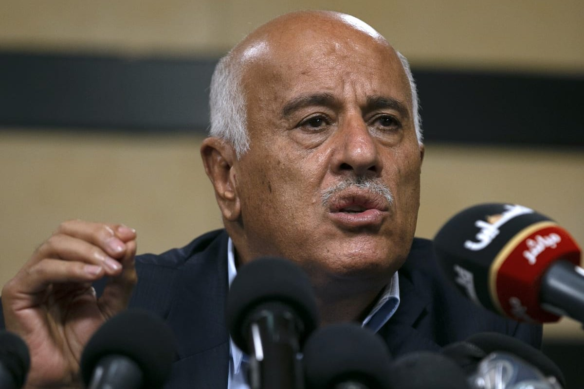 Senior Fatah official Jibril Rajoub, in the West Bank city of Ramallah, attends by video conference a meeting with deputy Hamas chief Saleh Arouri (unseen) discussing Israel's plan to annex parts of the Israeli-occupied West Bank, on 2 July 2020. [ABBAS MOMANI/AFP via Getty Images]