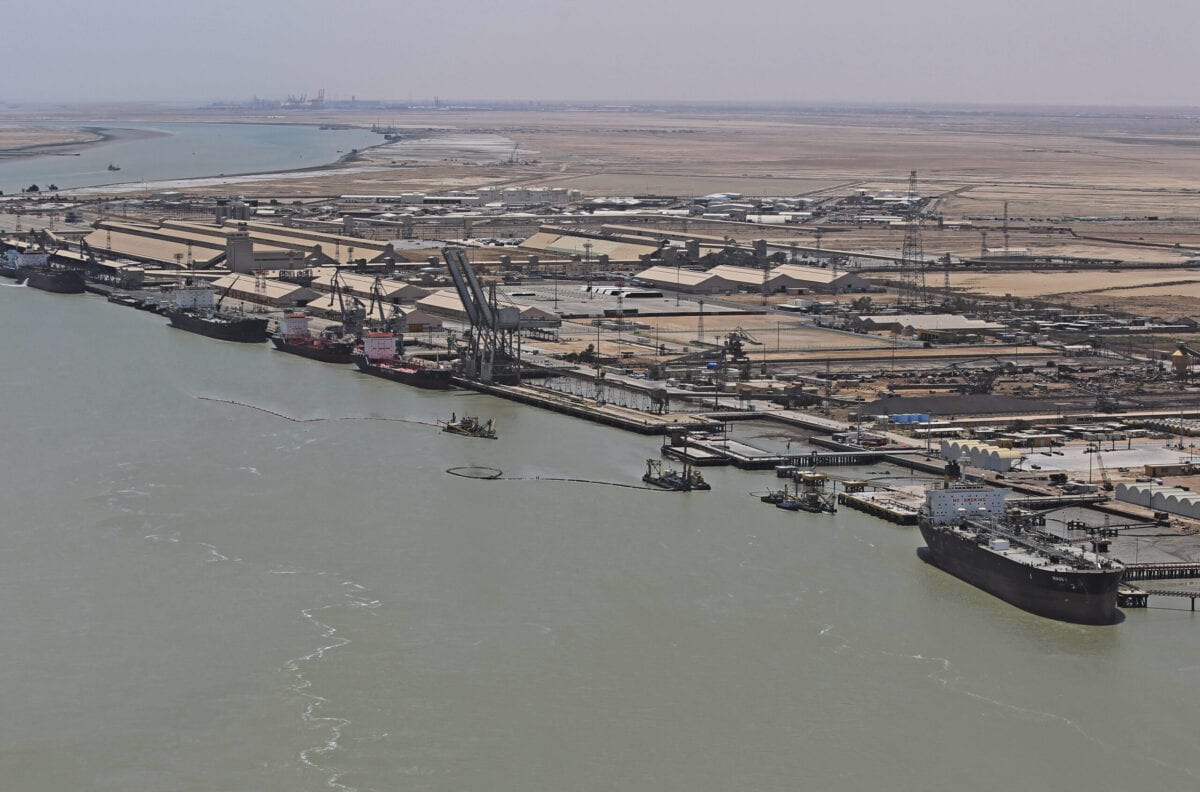 An aerial view of the southern city of Basra shows the port of Umm Qasr, on July 15, 2020 [AHMAD AL-RUBAYE/POOL/AFP via Getty Images]