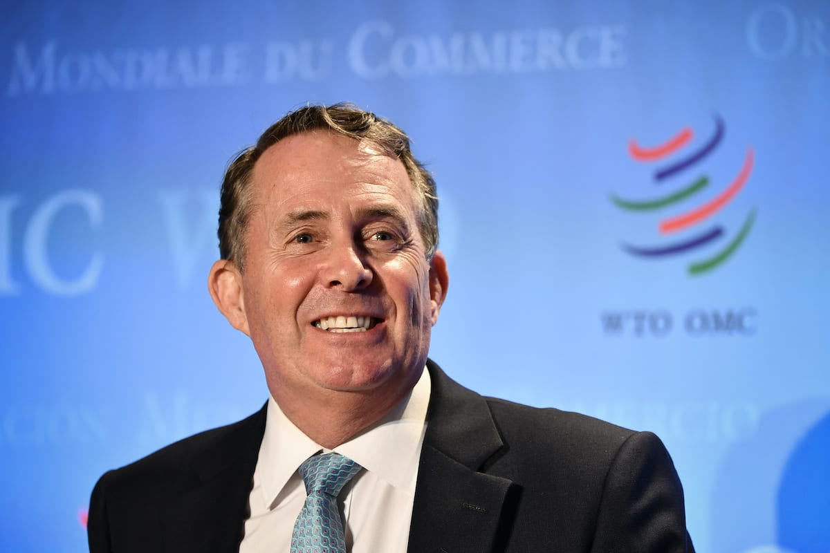 Britain's first post-Brexit international trade secretary Liam Fox attends a press conference on 17 July 2020 in Geneva [FABRICE COFFRINI/AFP via Getty Images]