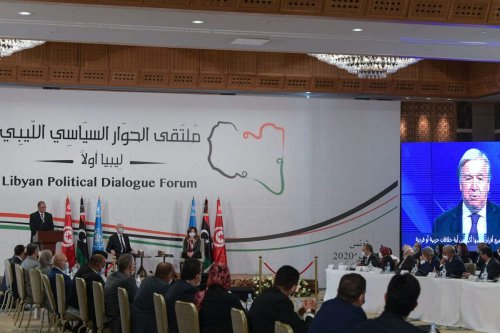 UN Secretary General Antonio Guterres addresses participants at the opening of the Libyan Political Dialogue Forum hosted in Gammarth on the outskirts of Tunisia's capital, on 9 November 2020. [FETHI BELAID/AFP via Getty Images]