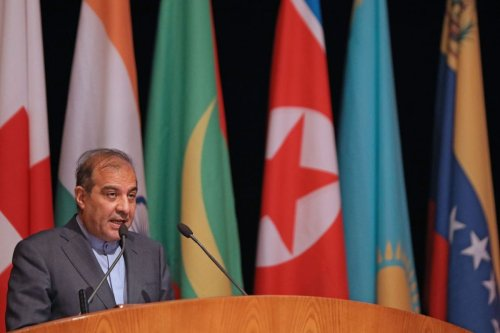 Senior assistant to Iranian Foreign Minister Ali Asghar Khaji speaks during the opening session of the international conference on the return of refugees held in Syria's capital Damascus on 11 November 2020. [LOUAI BESHARA/AFP via Getty Images]