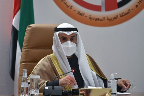 Secretray General of the Gulf Cooperation Council Nayef bin Falah al-Hajraf holds a press conferece at the end of the GCC's 41st summit, in the city of al-Ula in northwestern Saudi Arabia on 5 January 2021. [FAYEZ NURELDINE/AFP via Getty Images]