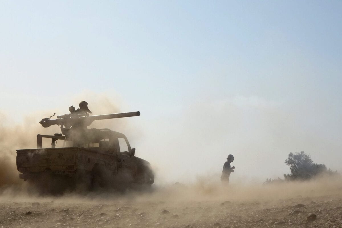 """Saudi-backed government troops repel a Huthi rebel offensive on oil-rich Marib, some 120 kilometres (75 miles) east of Yemen's rebel-held capital Sanaa, on February 14, 2021. - The UNs humanitarian chief said he was """"very alarmed"""" by a Huthi rebel assault on the Yemeni governments last northern stronghold of Marib, saying it could endanger millions of civilians. (Photo by - / AFP) (Photo by -/AFP via Getty Images)"""