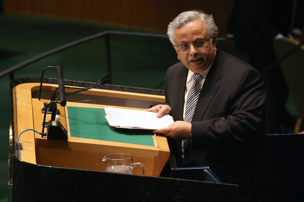 NEW YORK, NY - MAY 15: Saudi Arabian Ambassador to the United Nations Abdallah Al-Mouallimi speaks ahead of a vote at the United Nations calling for a political transition in Syria on May 15, 2013 in New York City. The 193-member UN General Assembly was to vote on an Arab-backed resolution condemning the regime of Syrian President Bashar Assad for human rights abuses and its escalating use of heavy weapons in the country's civil war. (Photo by John Moore/Getty Images)