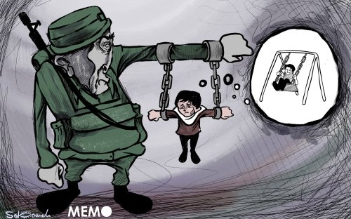 The targeting and arrest of Palestinian children has been a constant Israeli policy - Cartoon [Sabaaneh/MiddleEastMonitor]