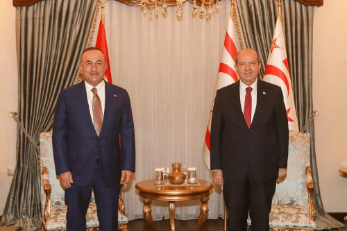 Turkish Foreign Minister Mevlut Cavusoglu (L) and Turkish Republic of Northern Cyprus President Ersin Tatar (R) [Anadolu Agency]