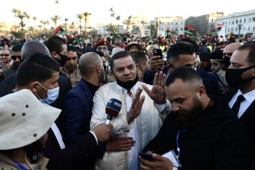 Libya's new Prime Minister Abdul Hamid Dbeibeh attends the celebration marking the Libyan Revolution, known as the 17 February Revolution, which ousted former ruler Muammar Gaddafi, at the Martyrs' Square in Tripoli, Libya on 17 February 2021. [Hazem Turkia - Anadolu Agency]