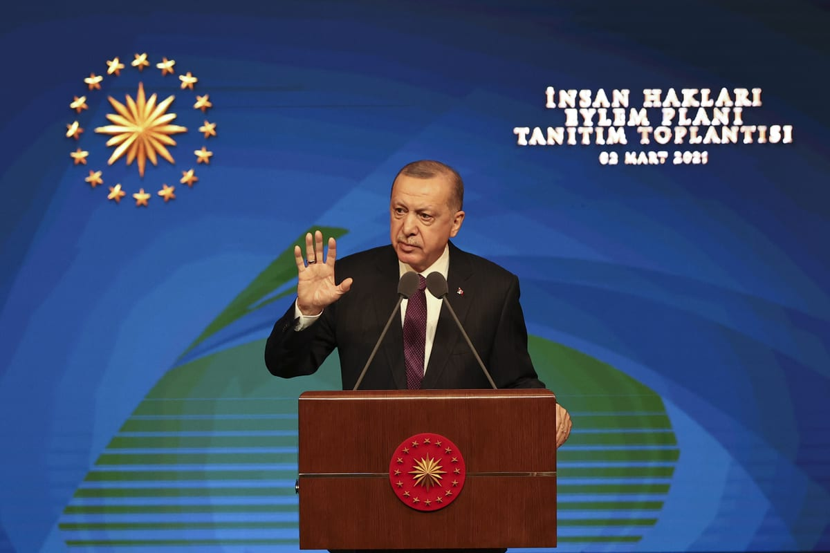 Turkish President Recep Tayyip Erdogan in Ankara, Turkey on March 02, 2021 [Doğukan Keskinkılıç/Anadolu Agency]