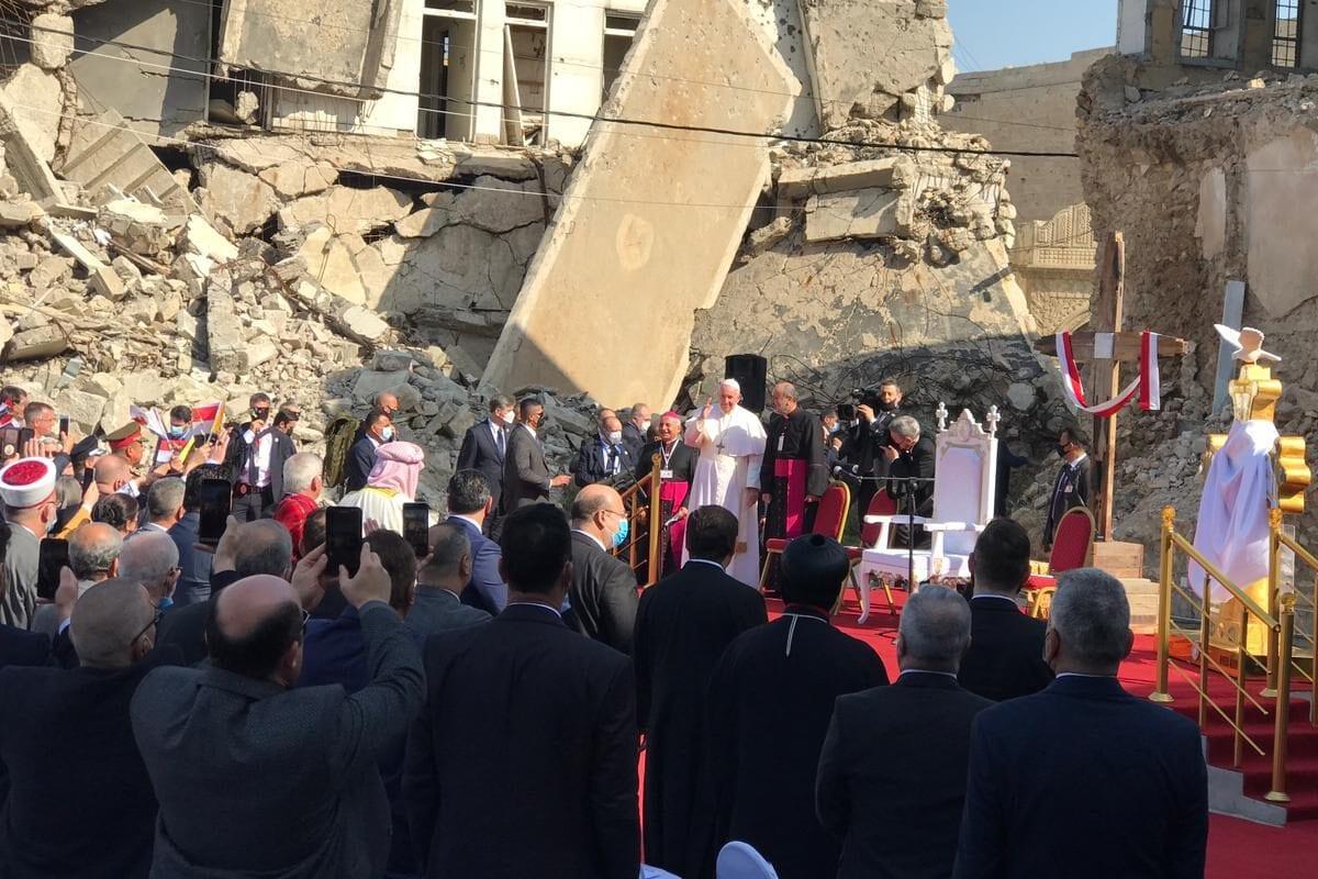 Pope Francis makes a speech at Church square of Hosh al-Bieaa in Mosul, Iraq on March 7, 2021 [Osama Al Maqdoni / Anadolu Agency]