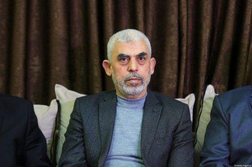 Hamas's leader in the Gaza Strip Yahya Al-Sinwar in Gaza city on 10 March 2021 [Ali Jadallah/Anadolu Agency]