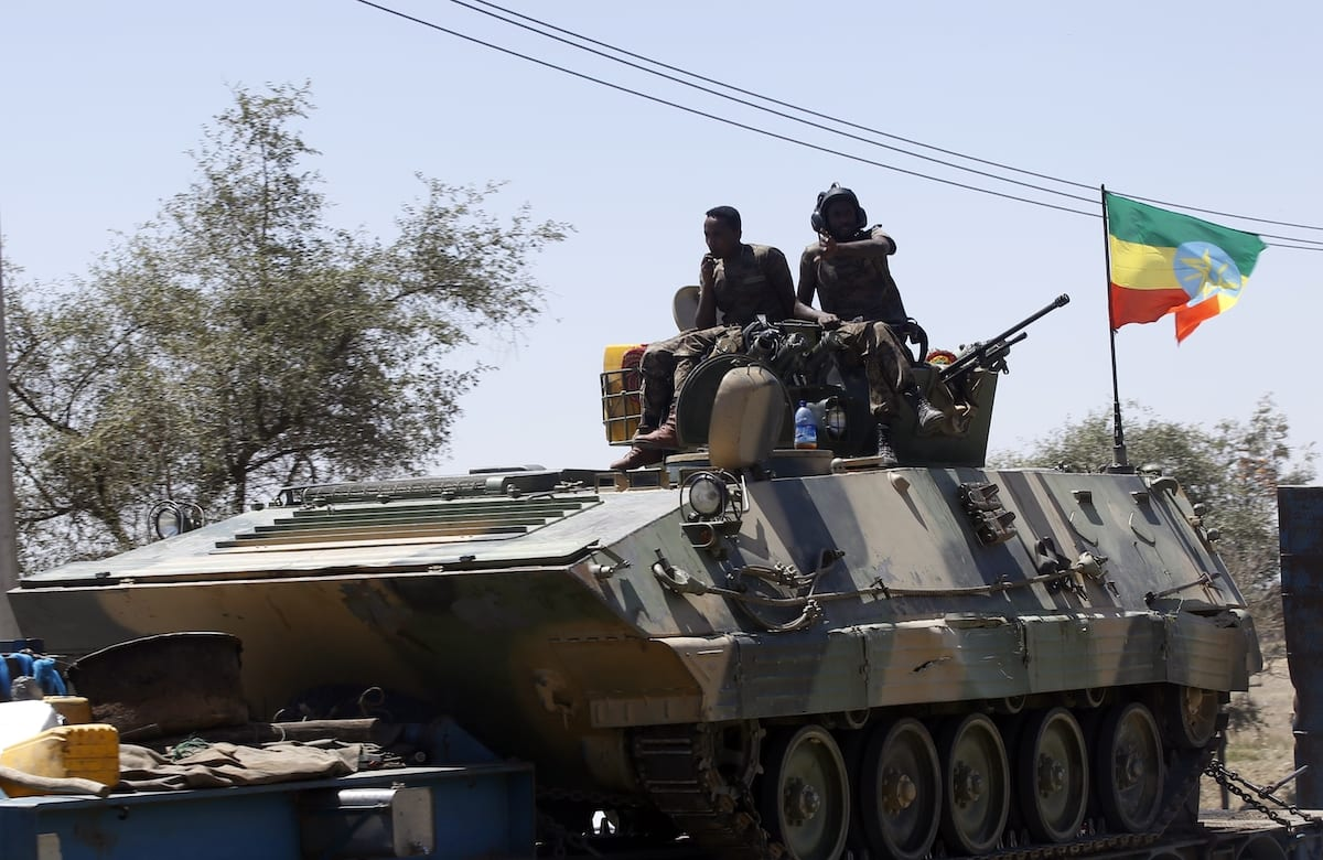 MEKELLE, ETHIOPIA - MARCH 07: Units of Ethiopian army patrol the streets of Mekelle city of the Tigray region, in northern Ethiopia on March 07, 2021 after the city was captured with an operation towards Tigray People's Liberation Front (TPLF). ( Minasse Wondimu Hailu - Anadolu Agency )